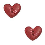 Button - Metallic Red Heart, Small (Set of 2) THUMBNAIL