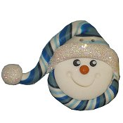 Button - Snowman With Stocking Cap THUMBNAIL