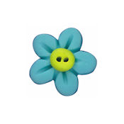 Button - Aqua Flower Head, Medium THUMBNAIL