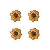 Button - Gold 8-Petal Flowerhead (Qty 4)