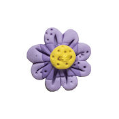 Button - Two Tone Violet Flower Head THUMBNAIL
