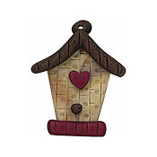 Button - Birdhouse with Heart THUMBNAIL
