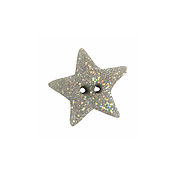 Button - Silver Disco Star, Medium THUMBNAIL