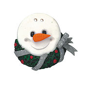 Button - Snowman with Wreath THUMBNAIL