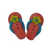 Button - Coral Flip Flops, set of 2 THUMBNAIL