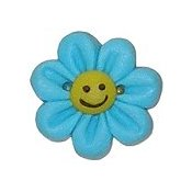 Button - Blue Smile Flower (Medium)