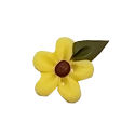 Button - Small Yellow Flower Head w/ Leaf MAIN