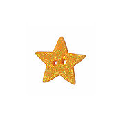 Button - Orange Cosmic Star, Medium THUMBNAIL