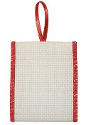"Banded Ornament - 14ct Opalescent White Aida w/ Red Trim (2-1/2"" wide stitching area) THUMBNAIL"