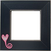 Button Frame - Swirly-tailed Heart 4x4 Black