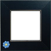 Button Frame - Blue Flowerhead 4x4 Black
