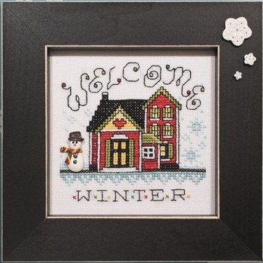 Button Frame - Snowflakes 5x5 Black