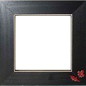 Button Frame - Autumn Leaves 5x5 Black
