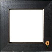 Button Frame - Small Sunflower 5x5 Black THUMBNAIL
