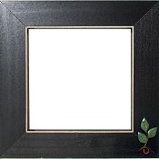 Button Frame - Tri Leaf & Vine 5x5 Black THUMBNAIL