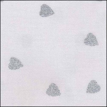 "Fabric Flair White with Silver Glitter Hearts 28ct Evenweave 18"" x 27"" MAIN"