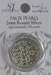 SJ Designs Faux Pearl 2mm Silver