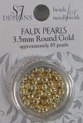 SJ Designs Faux Pearl 3.5mm Gold THUMBNAIL