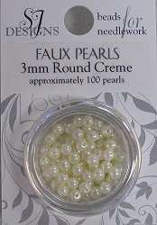 SJ Designs Faux Pearl 3mm Cream