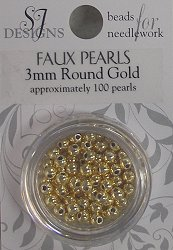 SJ Designs Faux Pearl 3mm Gold THUMBNAIL