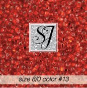 SJ Designs - 13 Ruby S/L 8/0 Glass Seed Beads THUMBNAIL