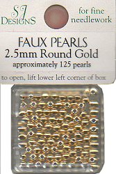 SJ Designs Faux Pearl 2.5mm Gold THUMBNAIL