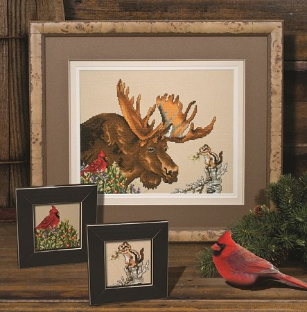 Photo of framed cross stitch Moose
