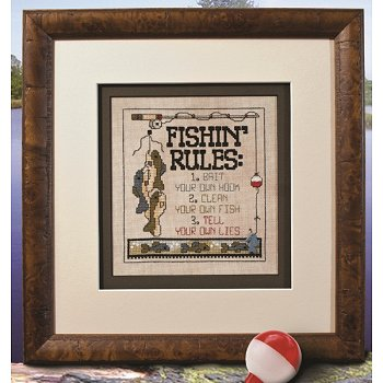 Photo of framed cross stitch Fishin' Rules THUMBNAIL