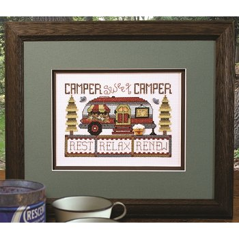 Photo of framed cross stitch Camper Sweet Camper