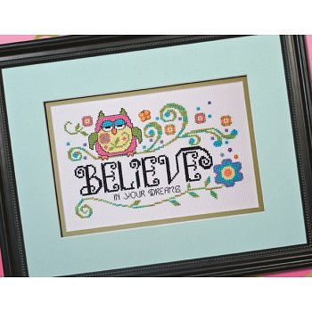 Photo of framed cross stitch Owl Believe_THUMBNAIL