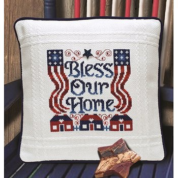 Prefinished Pillow - Patriotic - 18ct Anne Cloth