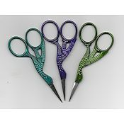 "Stork Embroidery Scissors 3-1/2"" Fun Colors"