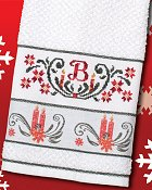 Woven Christmas Towel - Candles (White w/ Green)