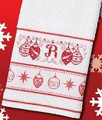 Woven Christmas Towel - Ornaments (White w/ Red)