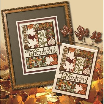 Photo of framed cross stitch Thankful