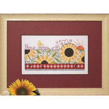 Photo of framed cross stitch Here Comes the Sun SUM14
