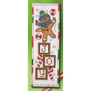 picture of 14 ct Aida cross stitch bookmark with Christmas trim with Gingerbread Joy design from Summer 2015 magazine