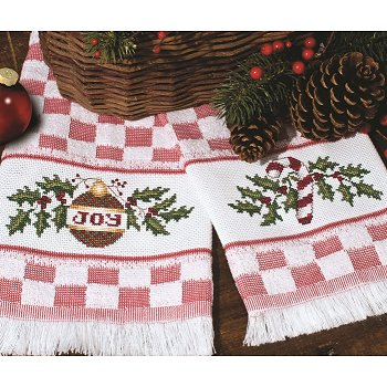 Verona Kitchen Towel - Red/White