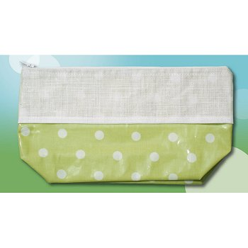 Waxed Green Polka Dot Bag, Large THUMBNAIL