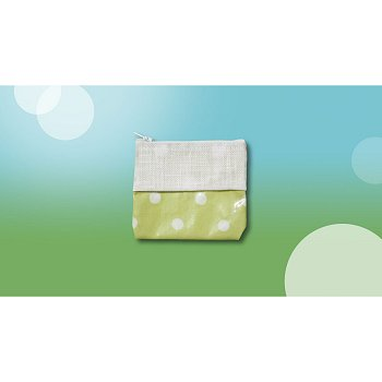 Waxed Green Polka Dot Bag, Wallet THUMBNAIL