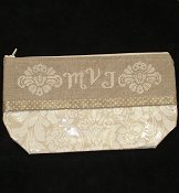 Waxed Ivory Damask Bag, Large THUMBNAIL
