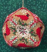 picture of Just Nan - Tiny Christmas Biscornu cross stitch pin cushion THUMBNAIL