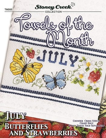 Towels of the Month - July Butterflies & Strawberries THUMBNAIL
