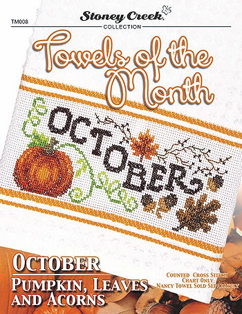Towels of the Month - October Pumpkin, Leaves and Acorns THUMBNAIL