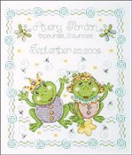 Tobin Baby - Frog Family Birth Sampler