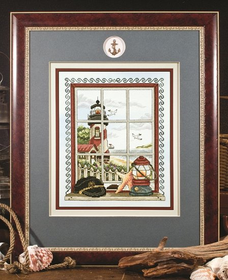 Photo of framed cross stitch Window to the Sea THUMBNAIL
