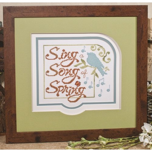 Photo of framed cross stitch Song of Spring THUMBNAIL