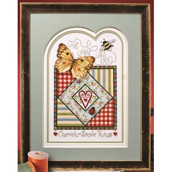 Photo of framed cross stitch Cherish