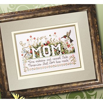 Photo of framed cross stitch Memories & Mom THUMBNAIL