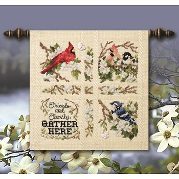 16 ct cream Gretchen pillow cut features stitched Gathering Birds design Winter 2016 Stoney Creek Cross Stitch magazine